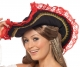 PIRATE HAT,BLACK W/RED LACE TRIM