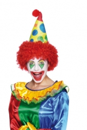 CLOWN HAT WITH RED HAIR,Fabric, Hcd